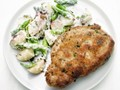 Mustard-crusted pork chops with asparagus-potato salad