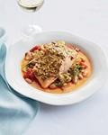 Mustard salmon with cannellini bean ragu