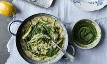Nettle and slow-cooked onion risotto