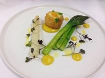New season asparagus, crispy pheasant egg and rapeseed mayonnaise