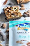 No-bake butterscotch bars with sea salt and dark chocolate almonds