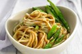Noodles with asparagus and miso sauce