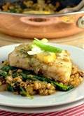 One pan speltotto with poached fish