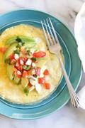 Open-faced omelet with avocado and pico de gallo