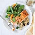 Orange-glazed salmon with olive quinoa