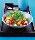 Oven-roasted pepper and garlic gnocchi