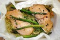 Oven roasted quinoa with salmon and asparagus