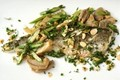 Pan-fried King George whiting fillets with mushrooms and asparagus