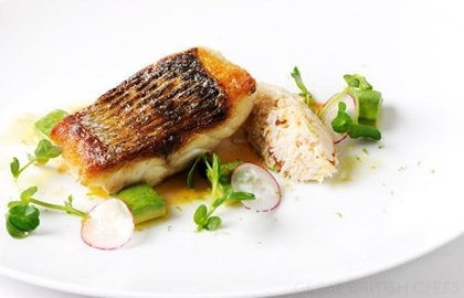 ... fried sea bass fillet with white crab salad and brown crab mayonnaise