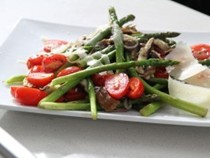 Pan-roasted asparagus with shiitake mushrooms and cherry tomatoes