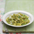 Pappardelle with broad beans and green chilli and pecorino pesto