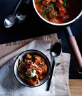 Paprika beef meatballs with sour cream and crisp onion
