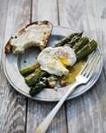 Parmesan asparagus with poached eggs