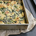 Parmesan bread pudding with broccoli rabe