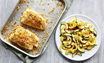 Parmesan fish with courgettes and chilli