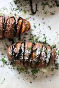 Parmesan Hasselback sweet potatoes with balsamic galze