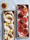 Passionfruit and blood orange ricotta tart