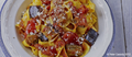 Pasta with aubergines and tomatoes