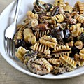 Pasta with oven roasted eggplant, goat cheese, and mint