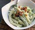 Pasta with yogurt, peas, and chile