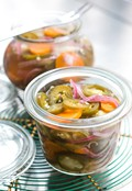 Pickled jalapeños and carrots