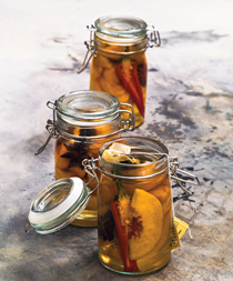 Pickled jasmine peaches with star anise