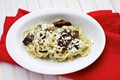 Pickled mushroom, brown butter and bryndza linguine