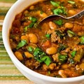 Pinto bean and ground beef stew with cumin and cilantro