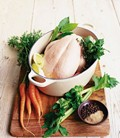 Poached chicken broth