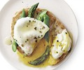 Poached egg and asparagus toasts with lemon-chive beurre blanc