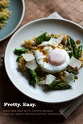 Poached eggs with crunchy quinoa and balsamic-brown butter asparagus