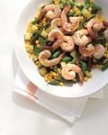 Poached shrimp on succotash