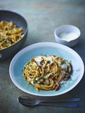 Porcini, shiitake and oyster mushroom pasta with thyme and sage