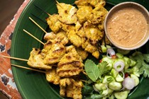 Pork satay with Thai spices and peanut sauce