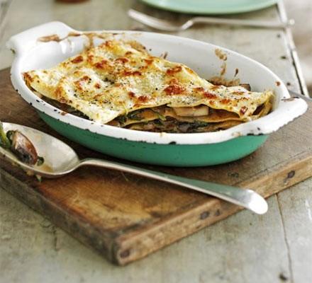 Portobello mushroom and spinach lasagne (page 52)