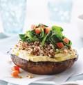Portobello-quinoa stacks