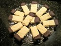 Potato chip shortbread cookies dipped in dark chocolate
