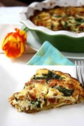 Potato-crusted quiche with pancetta, sun-dried tomatoes & spinach