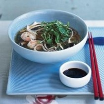 Prawn, chicken & watercress soba broth