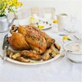 Proper roast chicken with shallots, sourdough bread sauce and chicken gravy