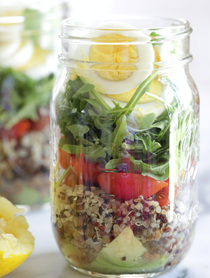 Protein egg and quinoa salad jars