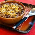 Pumpkin chili with ground beef, black beans, and kidney beans