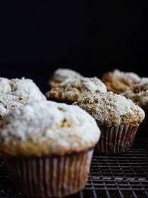 Pumpkin muffins with pepita sugar