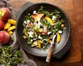Purslane-peach salad with feta and pickled red onions