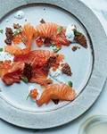 Quick-cured salmon with salmon cracklings