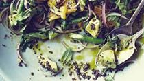 Quinoa and asparagus salad with matcha lemon dressing