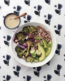 Quinoa bowl with tahini dressing