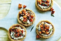 Quinoa-crusted cheese tarts with pumpkin and crisp sage