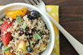 Quinoa fruit salad with honey lime vinaigrette