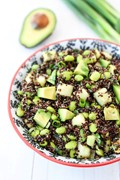 Quinoa salad with edamame, cucumber and avocado